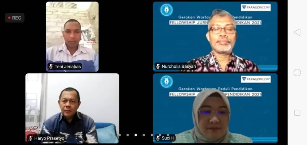Zoom meeting dalam acara Fellowship Jurnalisme Pendidikan secara virtual yang juga dihadiri Founder Wardah, Nurhayati Subakat, Selasa (10/8/2021). (Foto: Dokumen/Tugu Malang/Tugu Jatim)