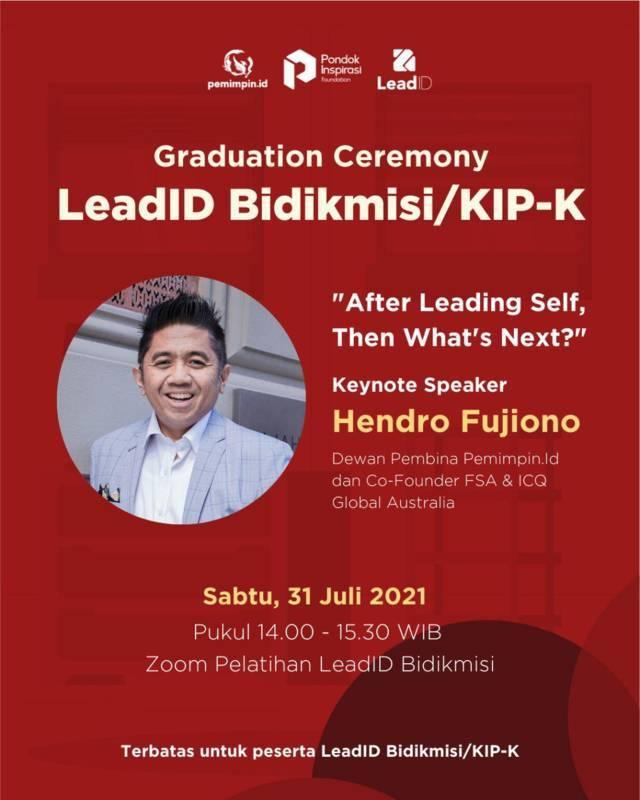 Acara Graduation Ceremony Lead.ID Bidikmisi/KIP-K yang merupakan acara kolaborasi dari Pondok Inspirasi dan Pemimpin.id. (Foto: Dokumen) tugu jatim