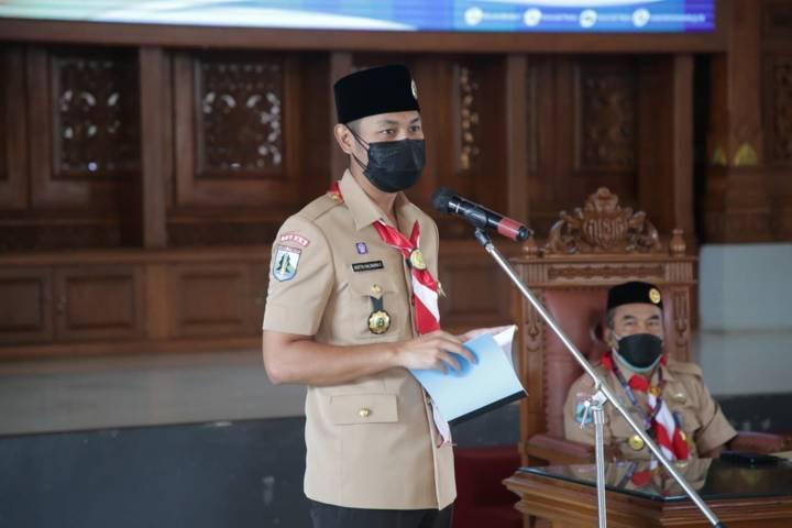 Bupati Tuban, Aditya Halindra Faridzky saat membuka Musyawarah Cabang Gerakan Pramuka Tuban tahun 2021 di Pendopo Krido Manunggal Tuban, Jumat (6/8/2021). (Foto: Diskominfo Tuban) tugu jatim