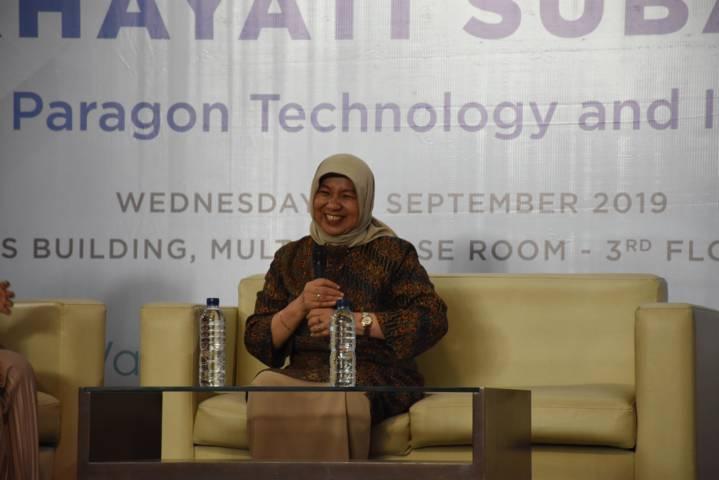 Nurhayati Subakat saat mengisi Inspiring Talk di ITB pada tahun 2019 lalu. (Foto: Ahmad Fadhil/Humas ITB) tugu jatim