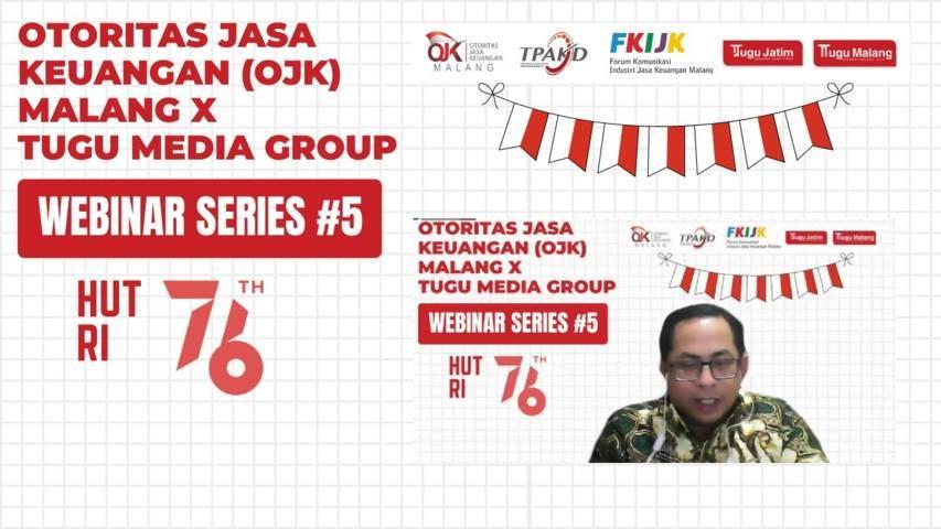 Kepala OJK Malang, Sugiarto Kasmuri menyampaikan materi di webinar series #5 yang digagas oleh Tugu Media Group bersama OJK Malang, Selasa (10/8/2021). (Foto: Dokumen/Tugu Malang/Tugu Jatim)