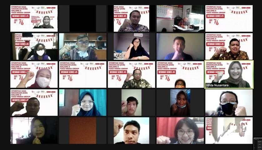 Peserta webinar series #5 OJK Malang X Tugu Media Group, Selasa (10/8/2021). (Foto: Dokumen/Tugu Malang/Tugu Jatim)
