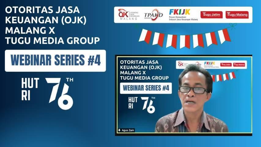 Kepala Departemen Perlindungan Konsumen OJK, Agus Fajri Zam dalam webinar series #4 OJK Malang X Tugu Media Group pada Rabu (4/8/2021). (Foto: Dokumen/Tugu Malang/Tugu Jatim)