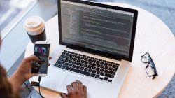 Ilustrasi seorang freelancer sedang membuka situs freelance/tugu jatim