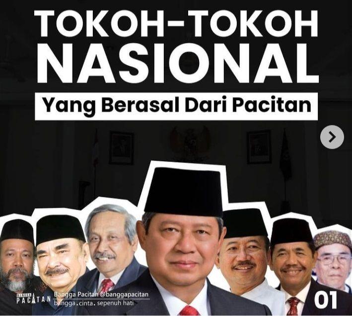 Tokoh nasional dari Pacitan, (dari kiri) Nursuhud, Haryono Suyono, Ir. Sutarto Alimoeso, Susilo Bambang Yudhoyono, Bambang Dwi Hartono, Sudijono Sastroadtmodjo, dan J.F.X. Hoerry./tugu jatim