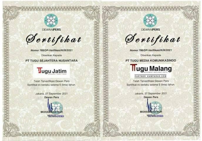Dewan Pers telah meresmikan 2 media di bawah naungan Tugu Media Group, yakni www.tugumalang.id dan www.tugujatim.id, terverifikasi faktual pada Senin (27/09/2021).(Foto: M. Ulul Azmy/Tugu Malang/Tugu Jatim)