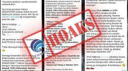 Pesan hoaks pendaftaran vaksin Nusantara yang beredar secara berantai/tugu jatim