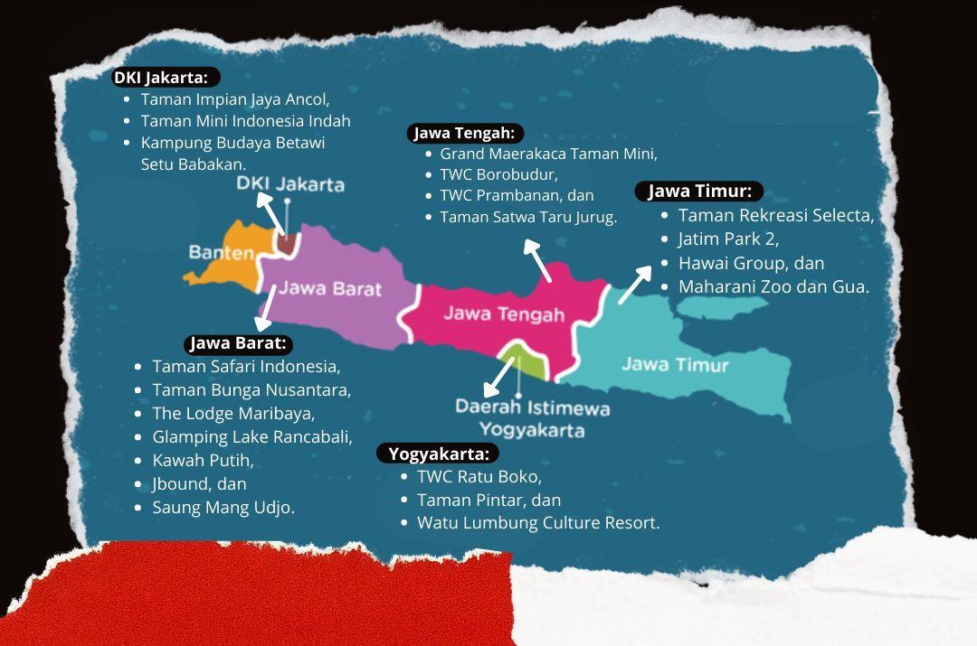 Infografis sebaran lokasi 20 wisata yang mulai dibuka/tugu jatim