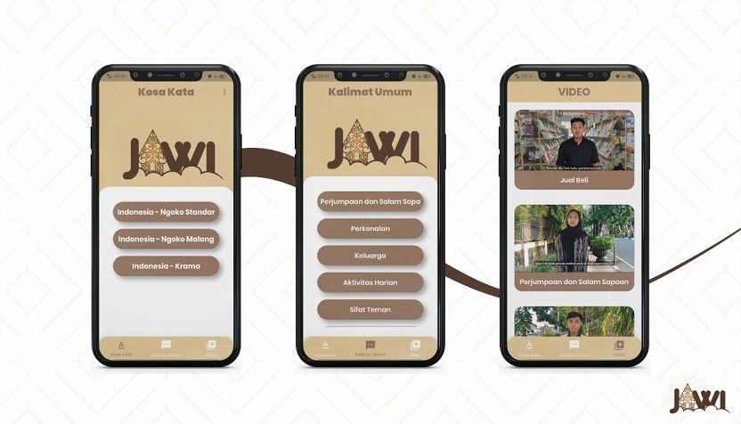 Tampilan aplikasi Jawi beserta fitur-fitunya yakni Menu Kosakata, Kalimat Umum, dan Video