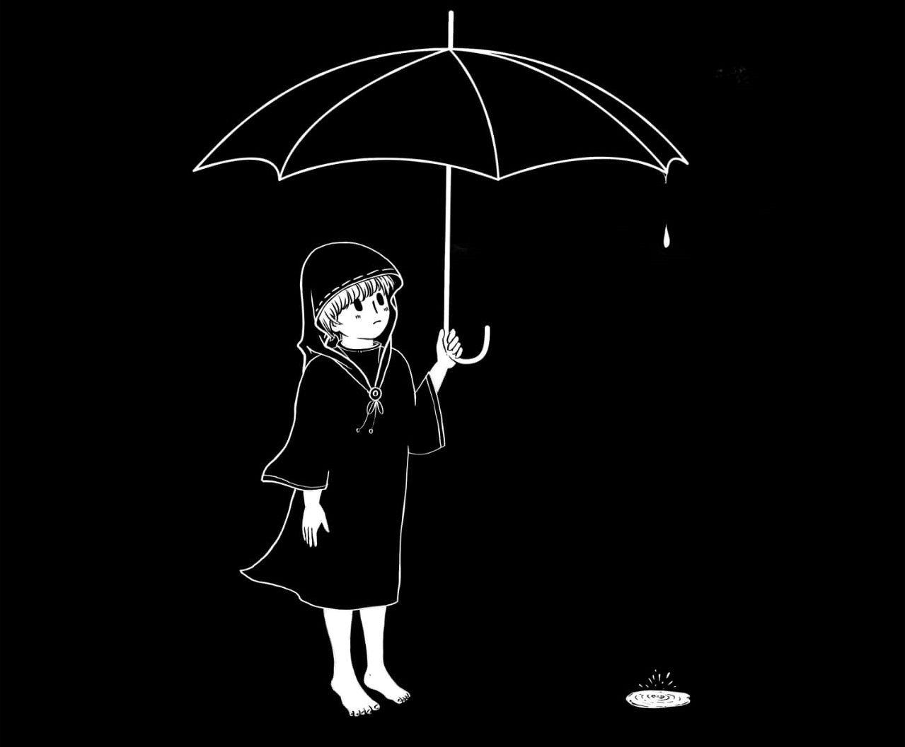 Ilustrasi puisi Gadis Berpayung Hitam/tugu jatim