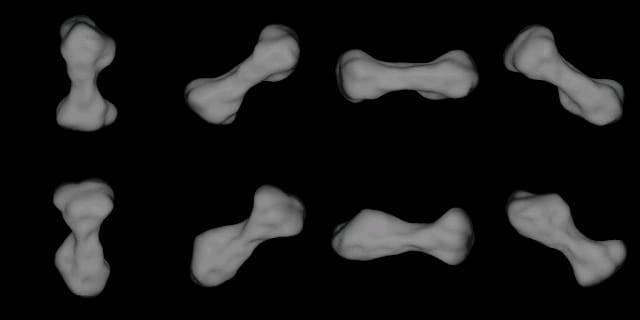Ilustrasi Kleopatra, asteroid berbentuk seperti tulang anjing. (Foto: Wikipedia/Tugu Jatim)