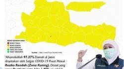 Tangkapan layar peta risiko sebaran Covid-19 di wilayah Jawa Timur yang telah masuk Zona Kuning. (Sumber: Intagram/Khofifah Indar Parawansa) tugu jatim