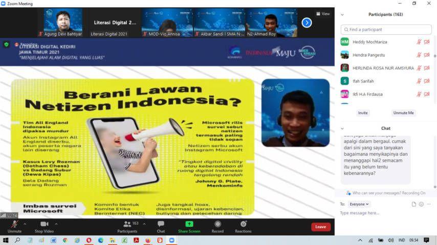 Webinar Literasi Digital yang digelar para pelajar muda NU untuk generasi milenial. (Foto: Dokumen) tugu jatim