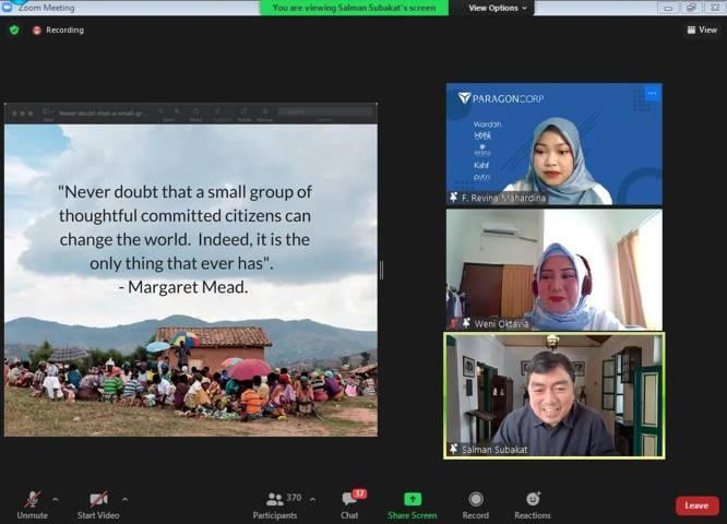 CEO PT Paragon Technology and Innovation Salman Subakat (bawah) saat memberikan paparan dalam Lecture Coaching Movement (LCM) Nasional Series #3. (Foto: Dokumen) tugu jatim