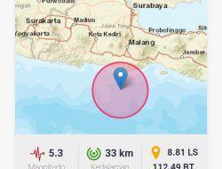 Malang Raya Diguncang Gempa 5,3 M selama 4 Detik