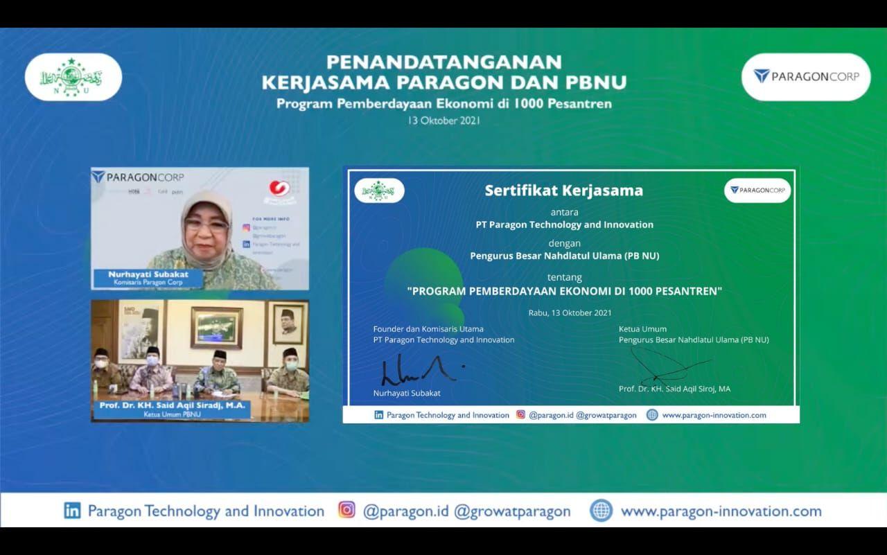 PT Paragon Technology and Innovation jalin kerja sama dengan Pengurus Besar Nahdlatul Ulama untuk Memberdayakan Ekonomi Umat di 1.000 Pesantren. (Foto: Dokumen/Tugu Jatim)