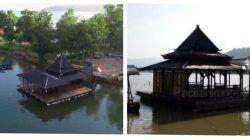 Pemandangan Masjid Terapung di Kabupaten Pacitan dari udara (kiri) dan tampak samping (kanan)./tugu jatim