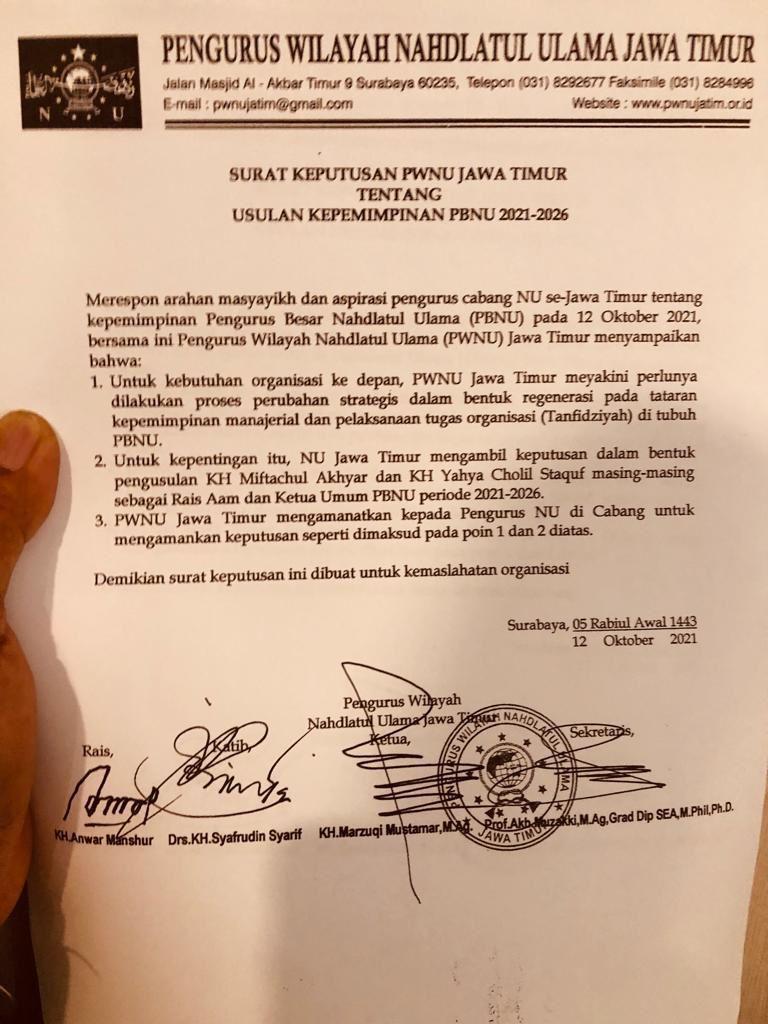 Isi surat keputusan PWNU Jatim. (Foto: Dokumen/Tugu Jatim)