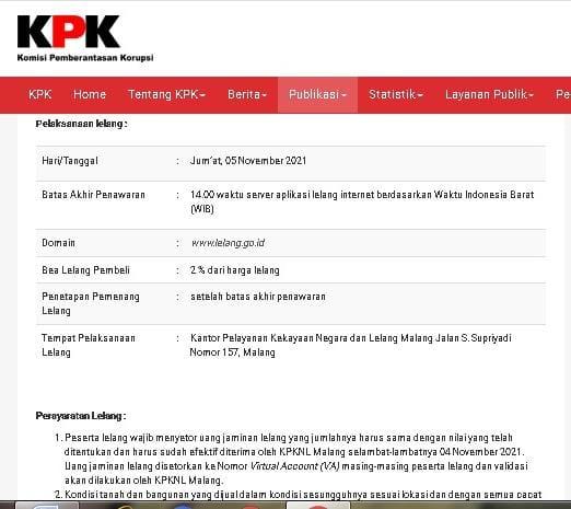 Komisi Pemberantasan Korupsi (KPK) mengumumkan lelang barang rampasan negara berupa tanah dan bangunan atas kasus korupsi eks wali Kota Madiun. (Foto: website KPK/Tugu Jatim)