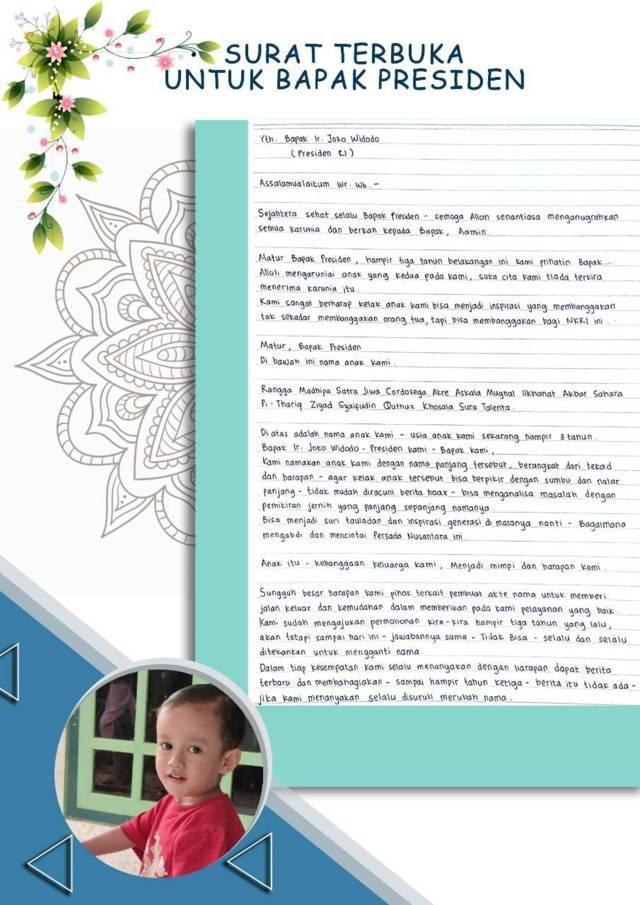 Tangkapan layar salah satu akun Facebook bernama Arif Akbar yang mengirimkan surat terbuka kepada Presiden Joko Widodo lantaran anaknya yang memiliki nama panjang hingga 19 suku kata kesulitan mendapatkan dokumen akta kelahiran. (Foto: Dokumen) tugu jatim